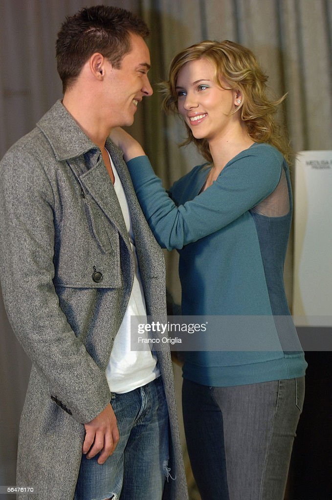 Actor Jonathan Rhys-Meyers and actress <a gi-track='captionPersonalityLinkClicked' href=/galleries/search?phrase=Scarlett+Johansson&family=editorial&specificpeople=171858 ng-click='$event.stopPropagation()'>Scarlett Johansson</a> attend a photocall to promote their new film 'Match Point' at the Hasler Hotel on December 21, 2005 in Rome, Italy.