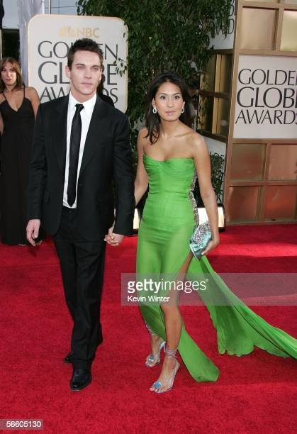 Actor Jonathan RhysMeyers and his girlfriend Reena Hammer arrive to the 63rd Annual Golden Globe Awards at the Beverly Hilton on January 16 2006 in...