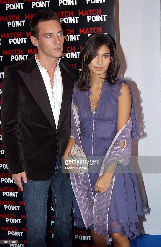 Actor Jonathan Rhys-Meyers and his girlfriend Reena Hammer attend the premiere of Woody Allen's new film 'Match Point' at the Embassy Cinema on December 20, 2005 in Rome, Italy.