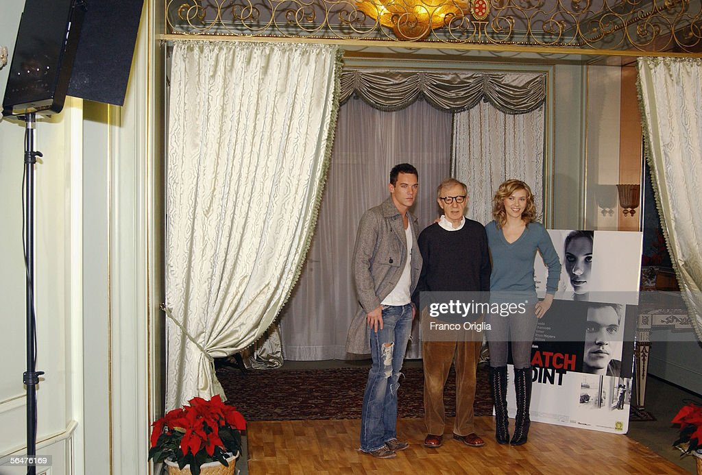 Actor Jonathan Rhys-Meyers, Director Woody Allen and actress Scarlett Johansson attend a photocall to promote their new film 'Match Point' at the Hasler Hotel on December 21, 2005 in Rome, Italy.