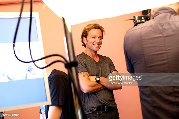 Actor Jonathan Scarfe of UP Entertainment's 'Ties That Bind' attends the Getty Images Portrait Studio powered by Samsung Galaxy at 2015 Summer TCA's...