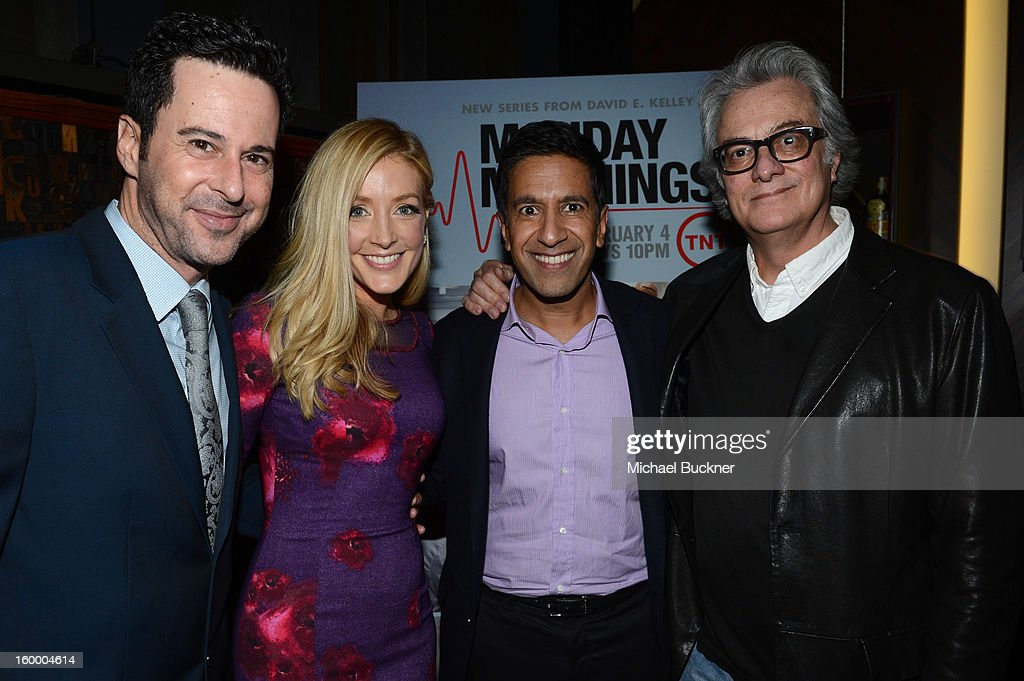Actor Jonathan Silverman, actress Jennifer Finnigan, writer/executive producer Dr. Sanjay Gupta and executive producer Bill D'Elia attend 'Monday Mornings' Premiere Reception at at BOA Steakhouse on January 24, 2013 in West Hollywood, California. (Photo by Michael Buckner/WireImage) 23200_001_MB_0153.jpg