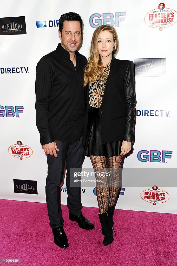 Actor Jonathan Silverman and actress Jennifer Finnigan arrive at the Los Angeles premiere of 'G.B.F.' at Chinese 6 Theater in Hollywood on November 19, 2013 in Hollywood, California.