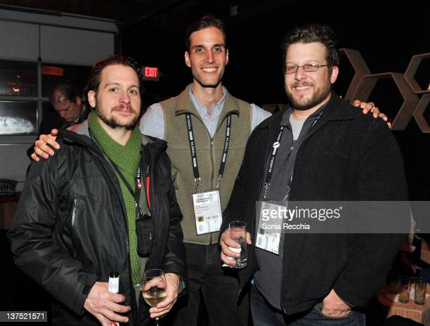 Actor Jonny Mars and filmmakers Drew Xanthopoulos and Jason Wehling attend the Late Night Lounge hosted by Sundance London during the 2012 Sundance...