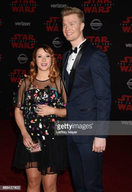 Actor Joonas Suotamo and Milla Pohjasvaara attend the premiere of Disney Pictures and Lucasfilm's 'Star Wars The Last Jedi' at The Shrine Auditorium...