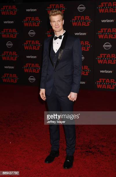 Actor Joonas Suotamo attends the premiere of Disney Pictures and Lucasfilm's 'Star Wars The Last Jedi' at The Shrine Auditorium on December 9 2017 in...