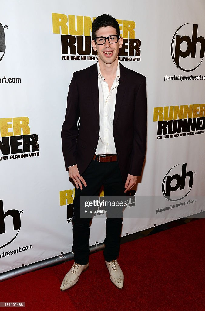 Actor Jordan Beder arrives at the world premiere of Twentieth Century Fox and New Regency's film 'Runner Runner' at Planet Hollywood Resort & Casino on September 18, 2013 in Las Vegas, Nevada.