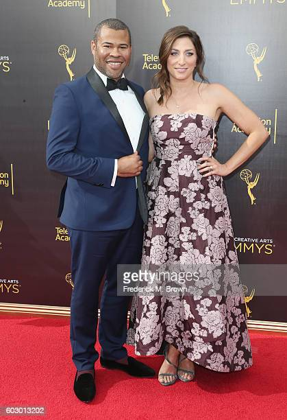 Actor Jordan Peele and Chelsea Peretti attend the 2016 Creative Arts Emmy Awards at Microsoft Theater on September 11 2016 in Los Angeles California