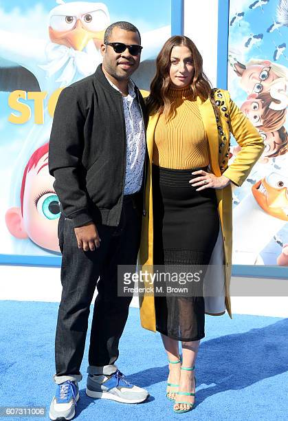 Actor Jordan Peele and comedian Chelsea Peretti arrive at the premiere of Warner Bros Pictures' 'Storks' at Regency Village Theatre on September 17...