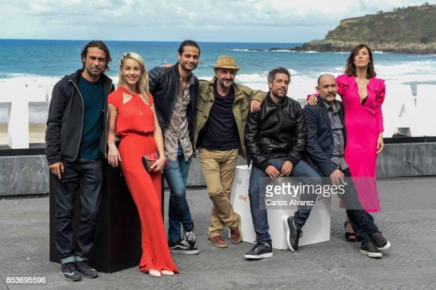 Actor Jordi Molla Barbara Mori Alosian Vivancos Ramon Agirre Unax Ugalde Karra Elejalde and Barbara Goenaga attend 'Operacion Concha' photocall...