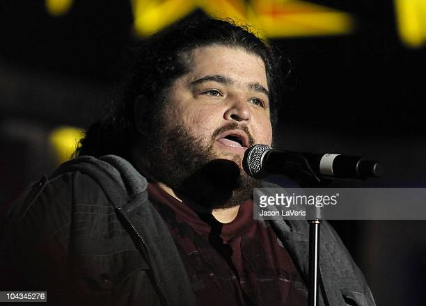 Actor Jorge Garcia performs at the AXE Music 'One Night Only' concert series at Dunes Inn Motel Sunset on September 21 2010 in Hollywood California