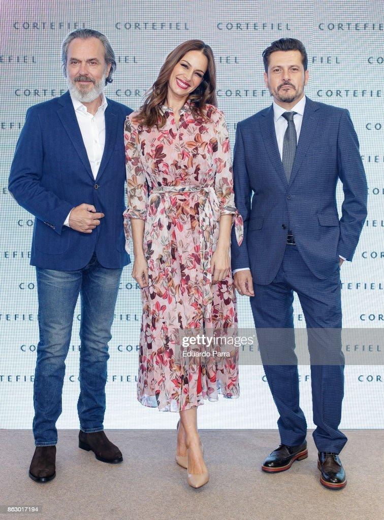 Actor Jose Coronado, model Eva Gonzalez and director Kike Maillo attend the 'Algo que compartir' campaign presentation at Mr. Fox studio on October 19, 2017 in Madrid, Spain.