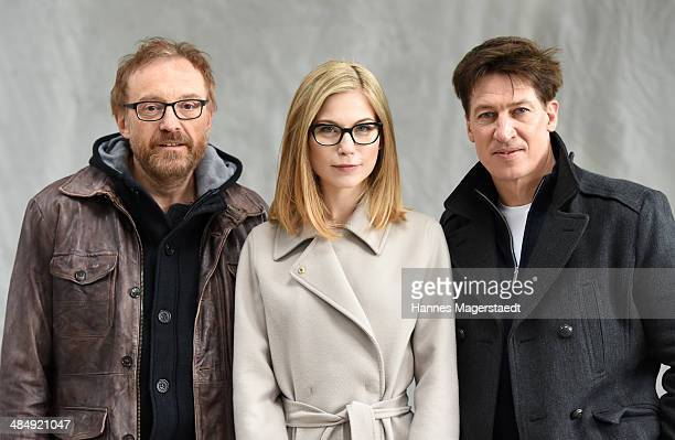 Actor Josef Hader Nora von Waldstaetten and Tobias Moretti attend 'Das ewige Leben' Set Visit on April 15 2014 in Munich Germany