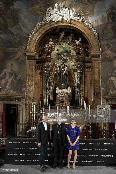 Actor Joseph Fiennes Archbishop Carlos Osoro and actress Maria Botto attend the 'Risen' photocall at the San Antonio de los Alemanes Church on March...