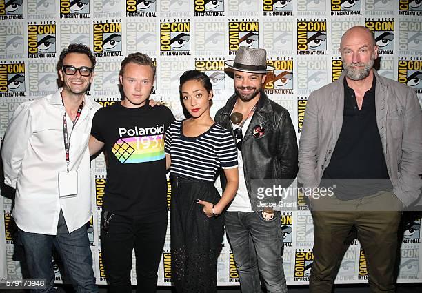 Actor Joseph Gilgun Ian Colletti Ruth Negga Dominic Cooper and Graham McTavish attend AMC's 'Preacher' panel during ComicCon International 2016 at...