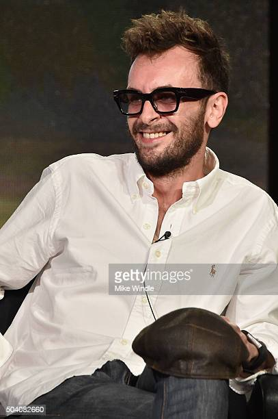 Actor Joseph Gilgun speaks onstage during the AMC Winter TCA Press Tour 2016 'Preacher' panel at The Langham Huntington Hotel and Spa on January 8...