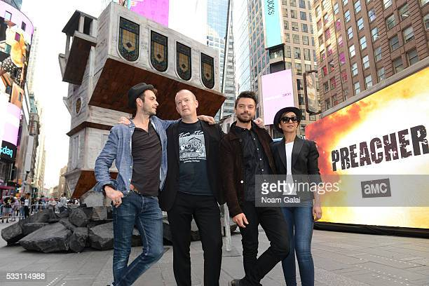 Actor Joseph Gilgun writer Garth Ennis and actors Dominic Cooper and Ruth Negga attend AMC's PREACHER Upside Down Church Event In Time's Square on...