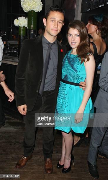Actor Joseph GordonLevitt and actress Anna Kendrick at the BlackBerry Inside Film Lounge at Brassaii on September 12 2011 in Toronto Canada