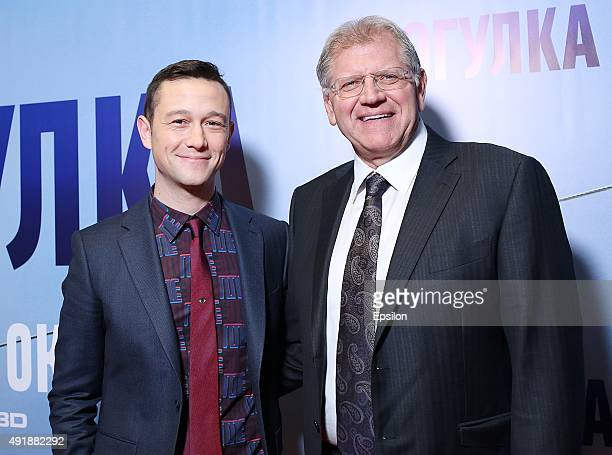 Actor Joseph GordonLevitt and director Robert Zemeckis attend a premiere for 'The Walk Rever Plus Haut' at Oktyabr cinema hall on October 8 2015 in...