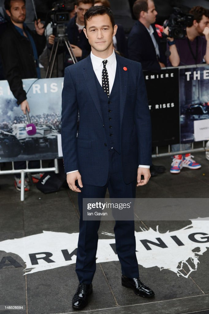 Actor Joseph GordonLevitt attends European premiere of 'The Dark Knight Rises' at Odeon Leicester Square on July 18 2012 in London England