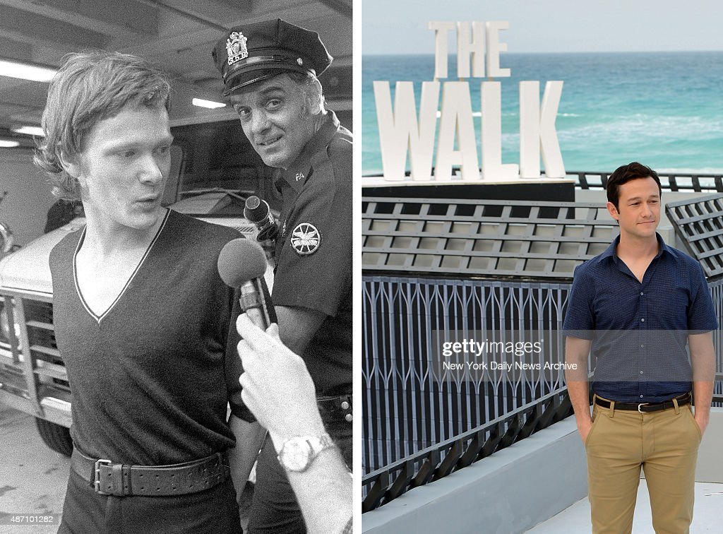 In this composite image a comparison has been made between Philippe Petit (L) and actor Joseph Gordon-Levitt. Actor Joseph Gordon-Levitt will play Philippe Petit (L) in a film biopic 'The Walk' directed by Robert Zemeckis. CANCUN, MEXICO - JUNE 15: Actor Joseph Gordon-Levitt attends the 'The Walk' photo call during Summer Of Sony Pictures Entertainment 2015 at The Ritz-Carlton Cancun on June 15, 2015 in Cancun, Mexico. #SummerOfSonyPictures #TheWalkMovie