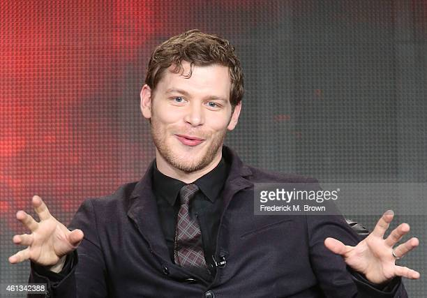 Actor Joseph Morgan speaks onstage during the 'The Vampire Diaries' and 'The Originals' panel as part of The CW 2015 Winter Television Critics...