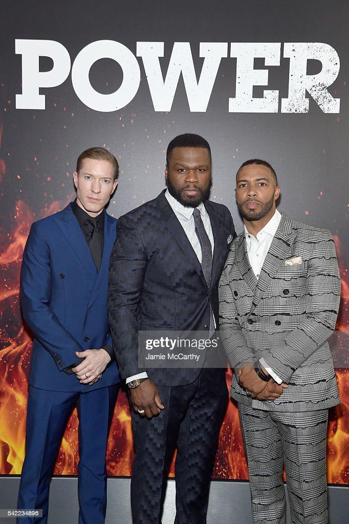Actor Joseph Sikora executive producer Curtis Jackson and actor Omari Hardwick attend the STARZ 'Power' New York season three premiere at SVA Theatre...