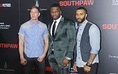 Actor Joseph Sikora rapper/actor 50 Cent and Omari Hardwick attend the 'Southpaw' New York premiere at AMC Loews Lincoln Square on July 20 2015 in...