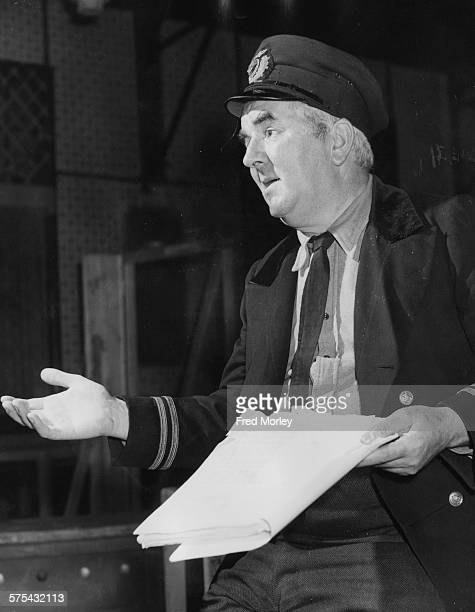 Actor Joseph Tomelty holding his script during rehearsals for the BBC television play 'The High Blown Lady' at the Goldhawk Club in Shepherds Bush...