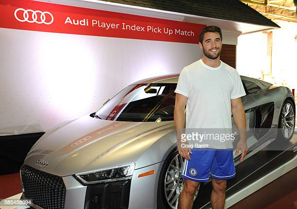 Actor Josh Bowman poses before the Audi Player Index PickUp Match at Chelsea Piers on August 2 2016 in New York City