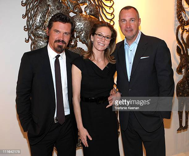 Actor Josh Brolin actress Diane Lane and Vanity Fair publisher Edward Menicheschi attend the Dior and Vanity Fair launch of BRANDAID Foundation held...