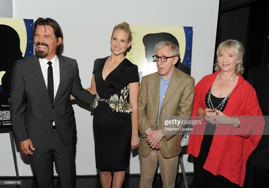 Actor Josh Brolin actress Lucy Punch director Woody Allen and actress Gemma Jones attend the screening of 'You Will Meet a Tall Dark Stranger' hosted...