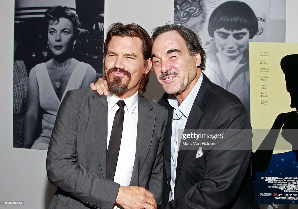 Actor <a gi-track='captionPersonalityLinkClicked' href=/galleries/search?phrase=Josh+Brolin&family=editorial&specificpeople=243198 ng-click='$event.stopPropagation()'>Josh Brolin</a> and Director <a gi-track='captionPersonalityLinkClicked' href=/galleries/search?phrase=Oliver+Stone&family=editorial&specificpeople=173458 ng-click='$event.stopPropagation()'>Oliver Stone</a> attend the Cinema Society and BlackBerry Torch screening of 'You Will Meet a Tall Dark Stranger' at MOMA on September 14, 2010 in New York City.