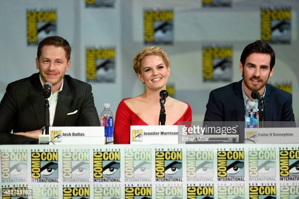 Actor Josh Dallas actress Jennifer Morrison and actor Colin O'Donoghue attend ABC's 'Once Upon a Time' panel during ComicCon International 2014 at...