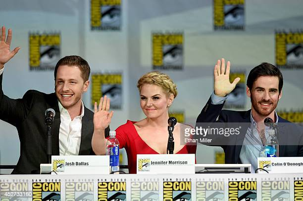 Actor Josh Dallas actress Jennifer Morrison and Colin O'Donoghue attend ABC's 'Once Upon a Time' panel during ComicCon International 2014 at the San...