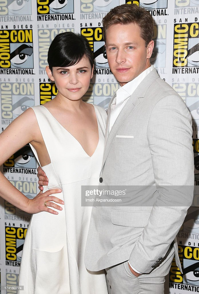 Actor Josh Dallas (L) and actress <a gi-track='captionPersonalityLinkClicked' href=/galleries/search?phrase=Ginnifer+Goodwin&family=editorial&specificpeople=215039 ng-click='$event.stopPropagation()'>Ginnifer Goodwin</a> attend the 'Once Upon A Time' press line during Comic-Con International 2013 at the Hilton San Diego Bayfront Hotel on July 20, 2013 in San Diego, California.