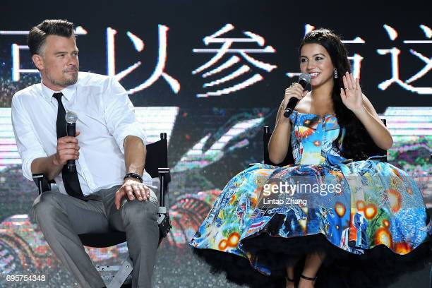 Actor Josh Duhamel and Actress Isabela Moner speak during the 'Transformers The Last Knight' China World Premiere and Ten Year Anniversary...