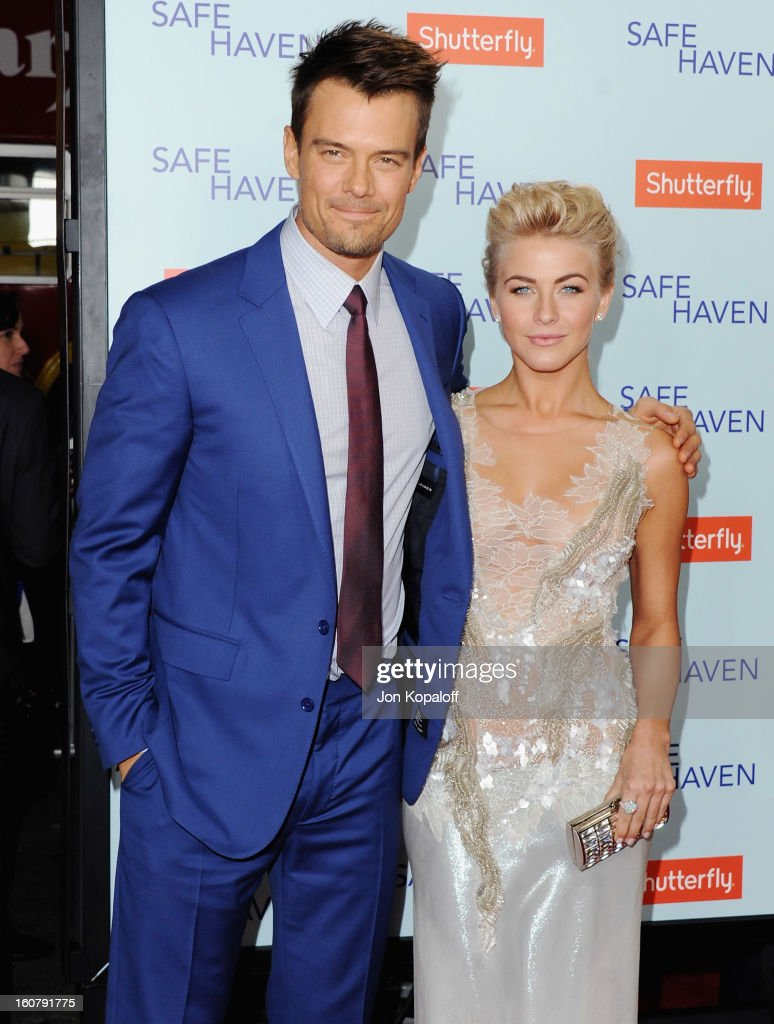 Actor <a gi-track='captionPersonalityLinkClicked' href=/galleries/search?phrase=Josh+Duhamel&family=editorial&specificpeople=208740 ng-click='$event.stopPropagation()'>Josh Duhamel</a> and actress <a gi-track='captionPersonalityLinkClicked' href=/galleries/search?phrase=Julianne+Hough&family=editorial&specificpeople=4237560 ng-click='$event.stopPropagation()'>Julianne Hough</a> arrive at the Los Angeles Premiere 'Safe Haven' at TCL Chinese Theatre on February 5, 2013 in Hollywood, California.