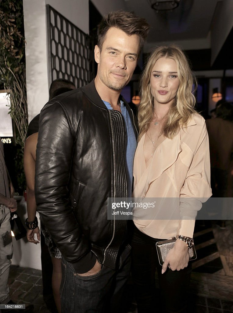 Actor <a gi-track='captionPersonalityLinkClicked' href=/galleries/search?phrase=Josh+Duhamel&family=editorial&specificpeople=208740 ng-click='$event.stopPropagation()'>Josh Duhamel</a> and model Rose Huntington-Whiteley attend a celebration of the BlackBerry Z10 Smartphone launch at Cecconi's Restaurant on March 20, 2013 in Los Angeles, California.