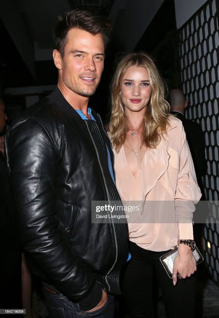 Actor <a gi-track='captionPersonalityLinkClicked' href=/galleries/search?phrase=Josh+Duhamel&family=editorial&specificpeople=208740 ng-click='$event.stopPropagation()'>Josh Duhamel</a> (L) and model <a gi-track='captionPersonalityLinkClicked' href=/galleries/search?phrase=Rosie+Huntington-Whiteley&family=editorial&specificpeople=2244343 ng-click='$event.stopPropagation()'>Rosie Huntington-Whiteley</a> attend the BlackBerry Z10 Smartphone launch party at Cecconi's Restaurant on March 20, 2013 in Los Angeles, California.