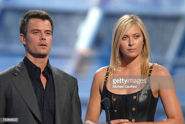 Actor Josh Duhamel and tennis player Maria Sharapova speak on stage during the 2007 ESPY Awards at the Kodak Theatre on July 11 2007 in Hollywood...