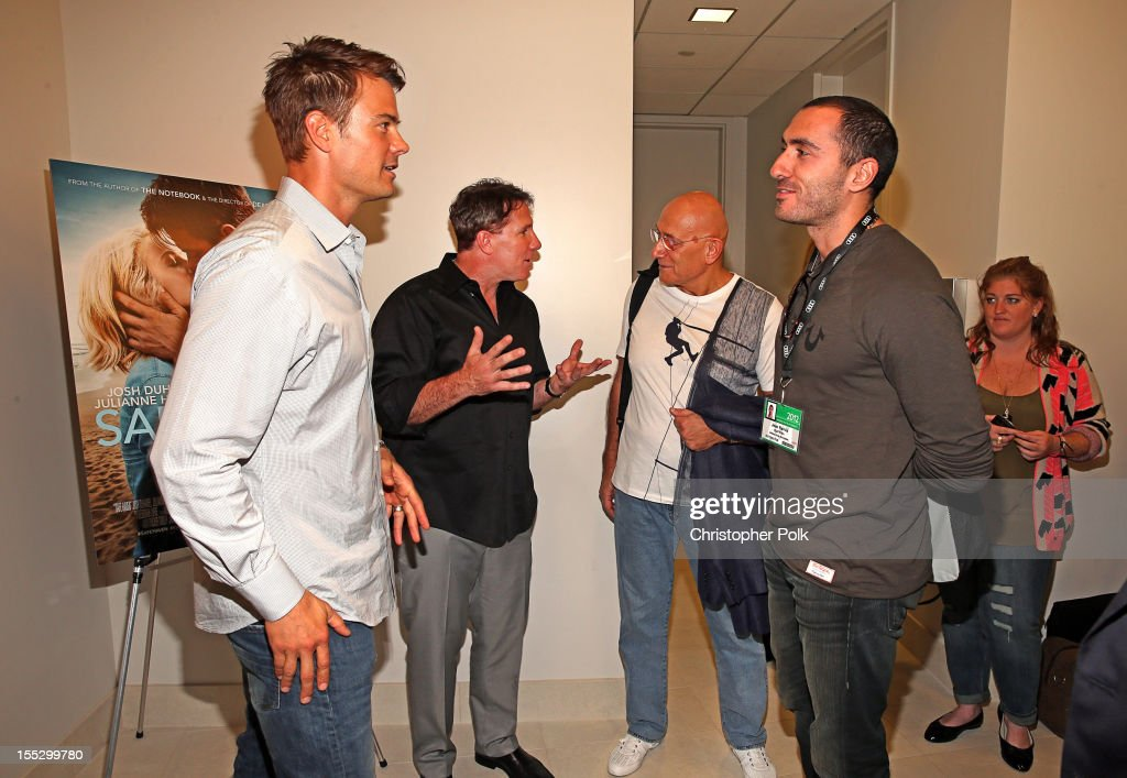 Actor <a gi-track='captionPersonalityLinkClicked' href=/galleries/search?phrase=Josh+Duhamel&family=editorial&specificpeople=208740 ng-click='$event.stopPropagation()'>Josh Duhamel</a>, author Nicholas Sparks, Salim Ramia of Gulf Film, Middle East and Jean Ramia of Gulf Film, Middle East attend the 'Safe Haven' AFM Reception at RealD Screening Room on November 2, 2012 in Beverly Hills, California.