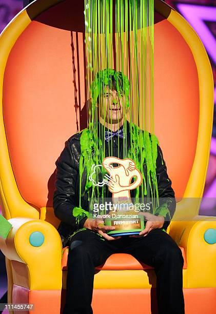 Actor Josh Duhamel gets slimed onstage during Nickelodeon's 24th Annual Kids' Choice Awards at Galen Center on April 2 2011 in Los Angeles California