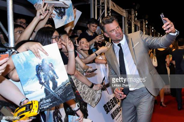 Actor Josh Duhamel greets fans during the 'Transformers The Last Knight' China World Premiere and Ten Year Anniversary Celebration at Haixinsha Asian...