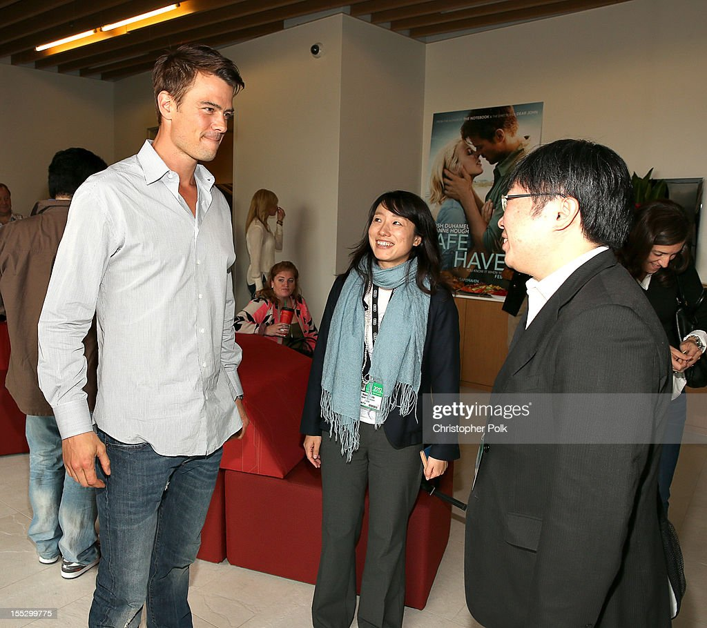 Actor Josh Duhamel, Naeko Yoda of GAGA Corporation, Japan and Takao Mizuno of GAGA Corporation, Japan attend the 'Safe Haven' AFM Reception at RealD Screening Room on November 2, 2012 in Beverly Hills, California.