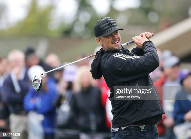 Actor Josh Duhamel plays in the 3M Celebrity Challenge during a practice round for the ATT Pebble Beach ProAm at Pebble Beach Golf Links on February...