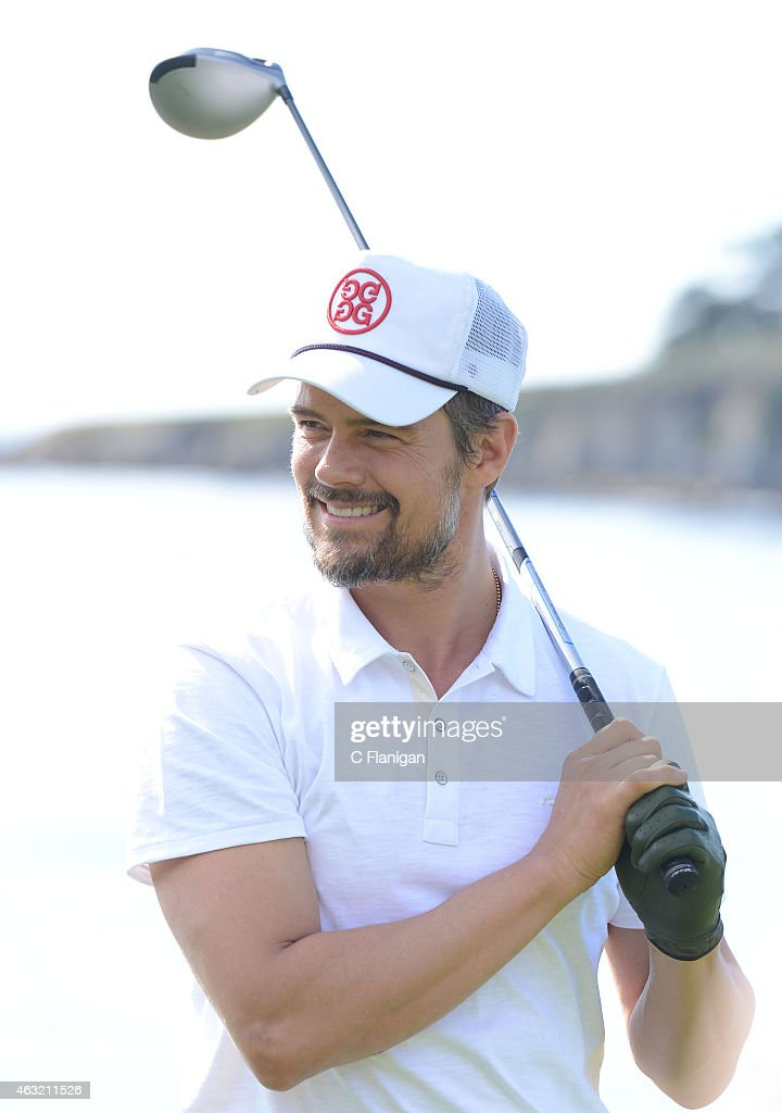 Actor Josh Duhamel reacts to his shot on the 17th tee during the 3M CelebrityChallenge before the AT&T Pebble Beach National Pro-Am at the Pebble Beach Golf Links on February 11, 2015 in Pebble Beach, California.