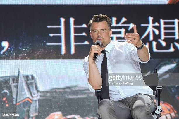 Actor Josh Duhamel speaks during the 'Transformers The Last Knight' China World Premiere and Ten Year Anniversary Celebration at Haixinsha Asian...