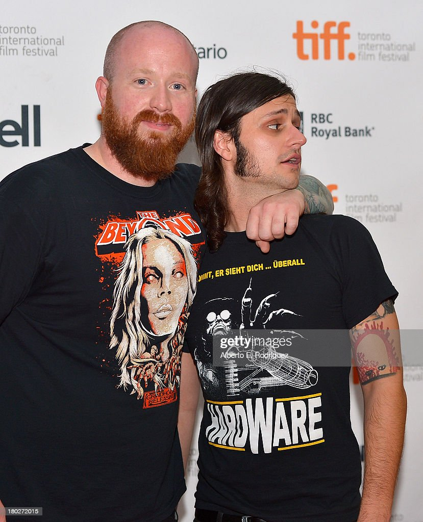 Actor Josh Ethier and writer/director Joe Begos arrive at the 'Almost Human' Premiere during the 2013 Toronto International Film Festival at Ryerson Theatre on September 10, 2013 in Toronto, Canada.
