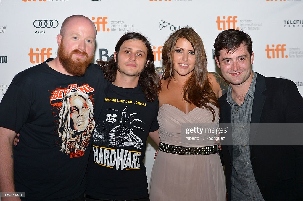 Actor Josh Ethier, director Joe Begos, actress Vanessa Leigh, and actor Graham Skipper arrives at the 'Almost Human' Premiere during the 2013 Toronto International Film Festival at Ryerson Theatre on September 10, 2013 in Toronto, Canada.